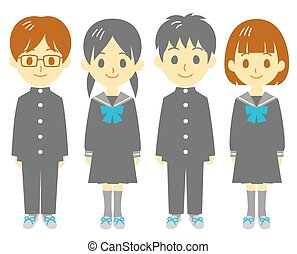 Student, schoolboy and schoolgirl, vector file