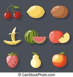 Fresh tasty fruit set apple cherry watermelon kiwi strawberry lemon peach pear banana healthy food icons natural vitamins flat d
