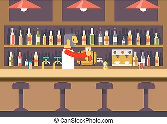 Bar Restaurant Cafe with Barkeeper Character Symbol Alcohol...