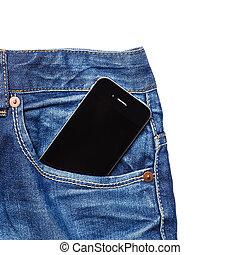 phone in pocket - black phone in jeans pocket