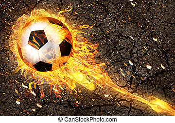 Soccer ball in fire flames - Soccer ball in burning fire...