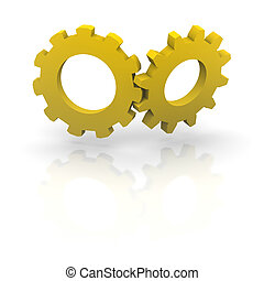 Two orange cogwheels 3d rendered illustration