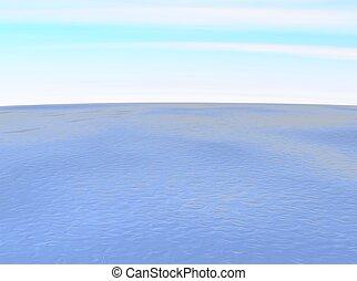 Wide ocean. 3d rendered illustration.