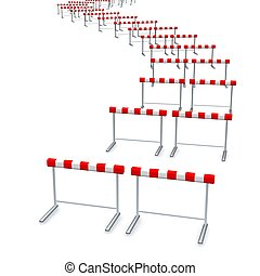 Hurdles track. 3d rendered illustration isolated on white.