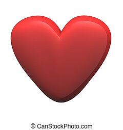 Red glossy heart isolated on white. 3d rendered illustration.