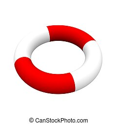 Life ring isolated on white. 3d rendered illustration.