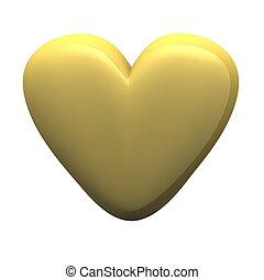 Golden glossy heart isolated on white. 3d rendered illustration.