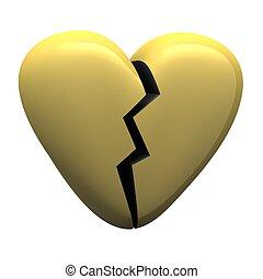 Gold glossy broken heart isolated on white. 3d rendered illustration.