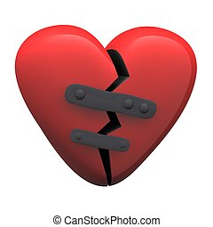 Red glossy patched heart isolated on white. 3d rendered illustration.