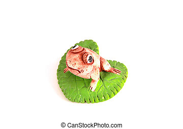 Frog on a lotus leaf stone model