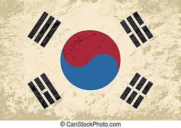 South Korea flag. Grunge background