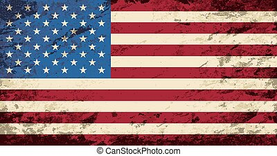 American flag. Grunge background. Vector illustration