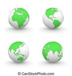 3D Globes in Green - four views of green 3D globes -...