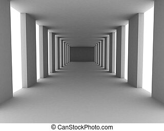 simple corridor - 3d rendered illustration of a grey...
