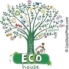 Eco house - Cute Eco greeting card, eco hose under the tree.