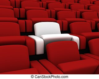 cinema seats - 3d rendered illustration of many red and one...
