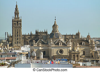 Seville cathedral and La Giralda tower in Seville. Spain....