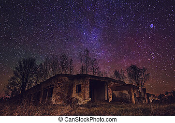 Abandoned building with star sky - Abandoned farm building...
