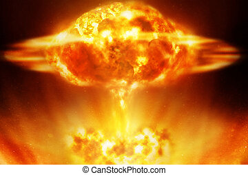 Nuclear explosion over black background