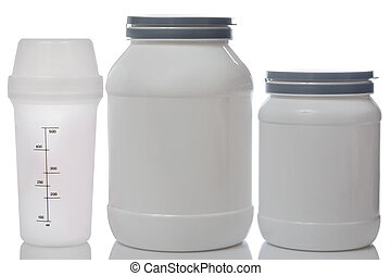Jars with food supplements and shaker
