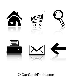 Set of 6 black and white icons Home, cart, search magnifier,...
