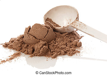 Protein powder - Close up of protein powder and scoop