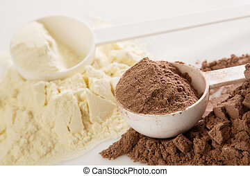 Protein powder - Close up of protein powder and scoops