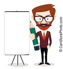 Businessman with a poster - Businessman with blank poster...