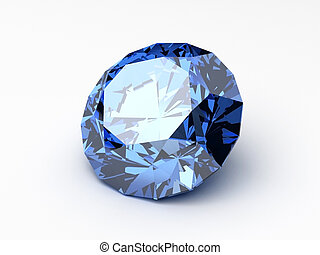 blue diamond - 3d rendered illustration of a shiny diamond