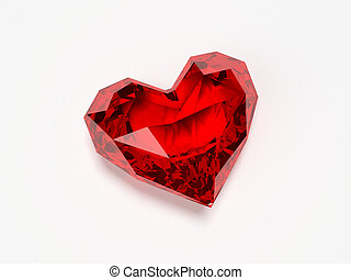 brilliant heart - 3d rendered illustration of a red ruby...