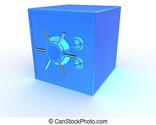 3d safe - 3d rendered illustration of a blue vault