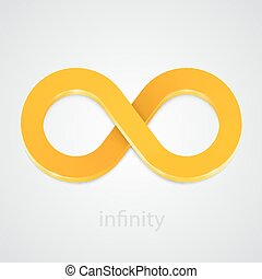 Abstract infinity gold sign. Vector
