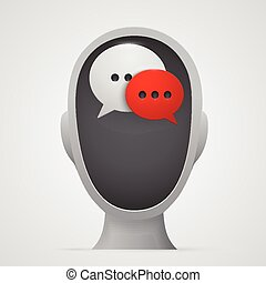 Chat bubbles inside head silhouette. Vector illustration