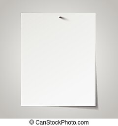 White paper attached with nail. Vector illustration