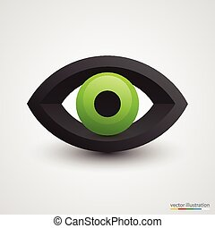 Three-dimensional green eye on white background. Vector...