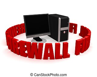 "firewall - 3d rendered illustration of the word ""firewall\""..."