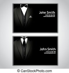 Business cards with elegant suit and tuxedo. - Vector...