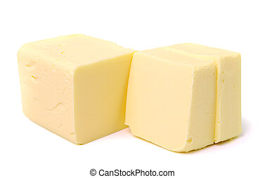 Stick of butter, cut, isolated on white.