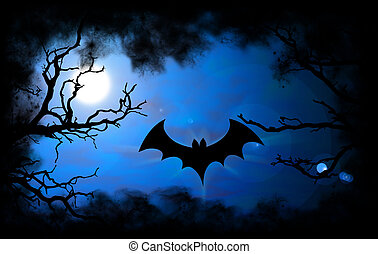Bat Halloween background - Dark night sky with full moon and...
