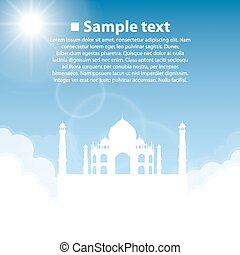Taj Mahal World sightseeing collection Vector illustration