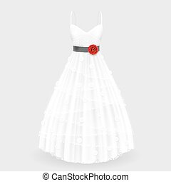 Wedding dress with flower art. Vector illustration