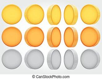 Vector coin rotation. gold copper silver