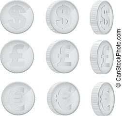 Coin in different angles - Silver coin of euro, pound...