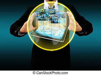 Businessman holding business collection
