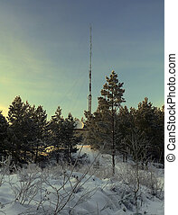 Winter landscape with antenna