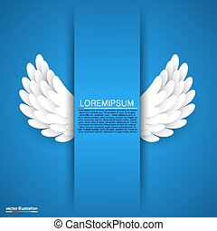 Artificial white paper wings on blue background. Vector...