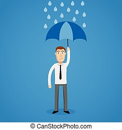 Business man in rain with umbrella.