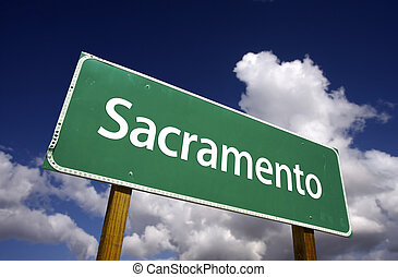 Sacramento Green Road Sign - Sacramento Road Sign with...