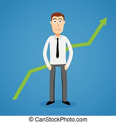 Satisfy business man and growth chart Vector illustration