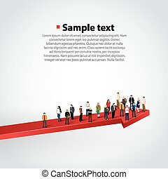 Peope crowd on growing arrow. Vector illustration